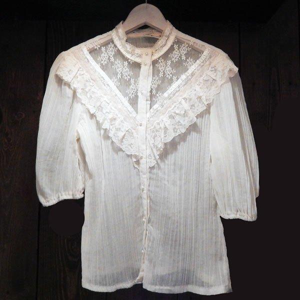 画像1: 70's US race&Pleats blouse(70's レース&プリーツ ブラウス) (1)