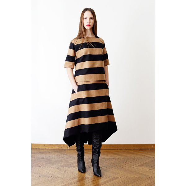 【AGNES NORDENHOLZ】BOX PLEATS VOLUME SKIRT / CAMEL× BLACK