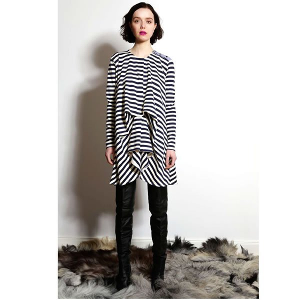 AGNES NORDENHOLZ - DRAPED JERSEY DRESS / STRIPE