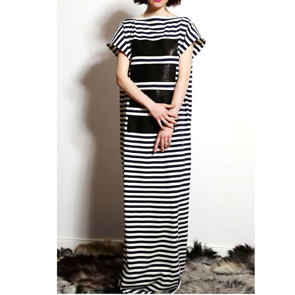 画像1: AGNES NORDENHOLZ -  JERSEY DRESS LONG / STRIPE (1)