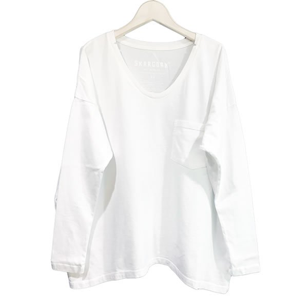 SKARGORN - #62 LONG SLEEVE BOX TEE [WHITE WASH]
